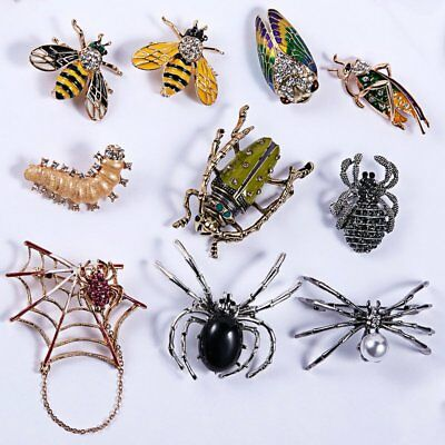 Charm Women Men Jewellery Gift Animal Insect Bee Spider Pearl Crystal Brooch Pin