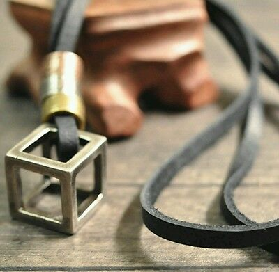 MENS LEATHER black stainless steel CUBE NECKLACE boys gents bikers punk M32