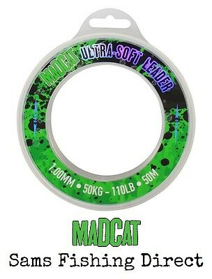 Mad Cat Ultra Soft Mono Leader 50kg 50m Catfish Fishing Hooklink Material