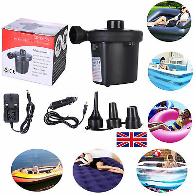 Electric Air Pump Inflator for Inflatables Camping Bed Pool Car UK Plug 3 Nozzle