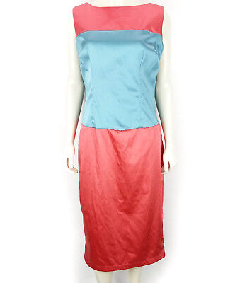 84398d9bf32 Tatyana for Bettie Page Coral Pink   Blue Formal Pencil Pinup Dress Size  Large