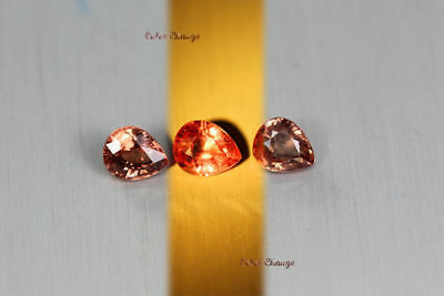 2.675 Ct Rare Natural From Earth Mined *color Change Malaya Garnet* Aaa+ 3-Pcs!!