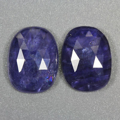 16.085 Ct Ultra Rare Best Grade Unheated Natural Huge Super Blue Iolite Nr! Pair