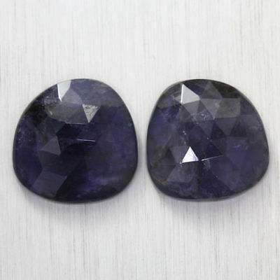 16.090 Ct Ultra Rare Best Grade Unheated Natural Super Blue Iolite Nr! Pair!!