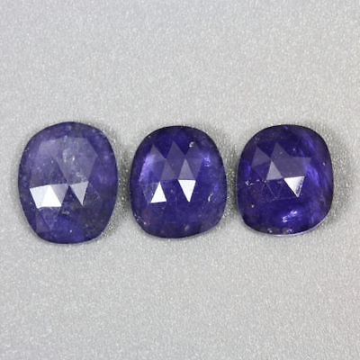 7.070 Ct Ultra Rare Best Grade Unheated Natural Huge Super Blue Iolite 3 -Pcs