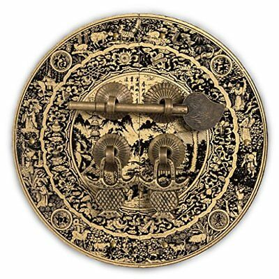 Chinese Brass Hardware Mountain Scenery Cabinet Face Plate 5-1/2''