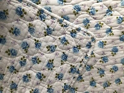 Vtg 60's 70's Quilted Lavender Blue White Floral Bedspread Blanket Shabby Chic
