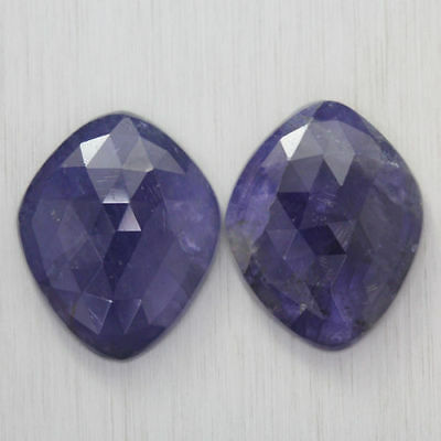 26.995 Ct Ultra Rare Best Grade Unheated Natural Super Blue Iolite Nr! Pair!!