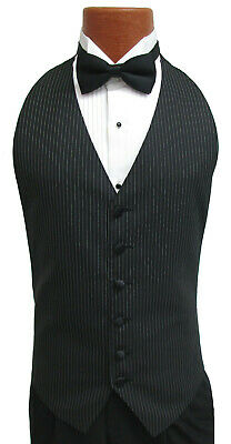 Men's Black Wool Pinstriped Open-Back Tuxedo Vest and Black Bow Tie Wedding Prom