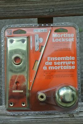 Mortise Lock Lockset W/ Brass Door Knobs With Brass Base Vtg Style Skeleton Keys