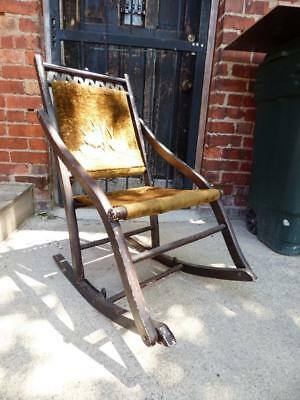 Astounding Antique Victorian Covered Wagon Folding Rocking Chair Glass Pdpeps Interior Chair Design Pdpepsorg