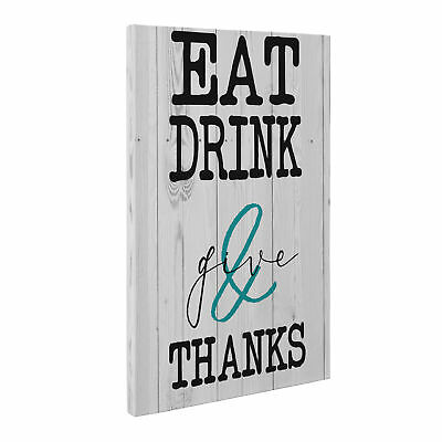 Eat Drink and Give Thanks Kitchen Canvas Wall Art