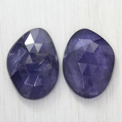 20.220 Ct Ultra Rare Best Grade Unheated Natural Super Blue Iolite Nr! Pair!!