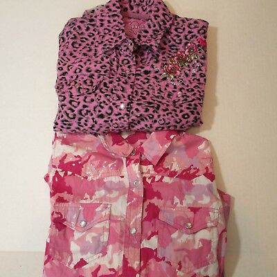 Lot of 2 Cowgirl Hardware girls size s Small western snap front shirt horse rose