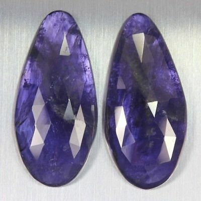 37.290 Ct Ultra Rare Best Grade Unheated Natural Huge Super Blue Iolite Nr! Pair