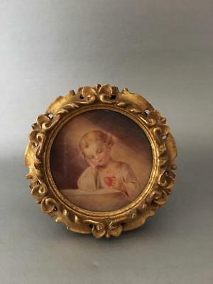 ANTIQUE VTG ITALIAN FLORENTINE GOLD TOLE WOOD MINIATURE FRAME w JESUS PAINTING