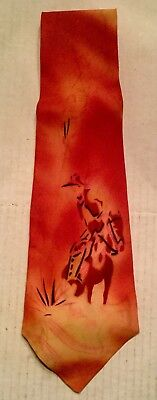 Vintage Hand Painted Cowboy and Horse Orange Necktie