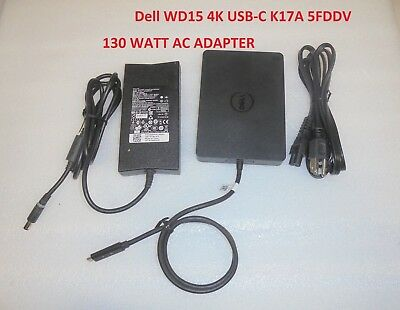 Genuine Dell WD15 4K USB-C Business Dock with 130W Adapter 5FDDV K17A 450-AFGM