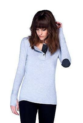 Asmar Bamboo Women's Long Sleeve Henley with Elbow Patches and Three Buttons