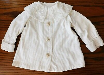 Vintage childrens coat ivory corduroy with lace on collar and cuffs 1950s 1960s