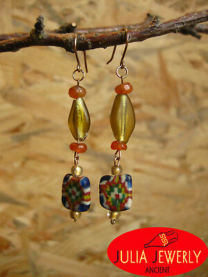 3)Exclusive! Gold (14k) earrings  (53 mm) with Ancient Glass Mosaic rare Beads.