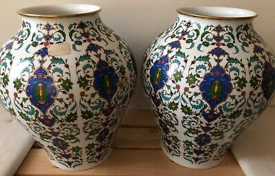 """Pair of Vintage Large 13"""" Hutschenreuther Blue & White Vase Germany 1960's"""