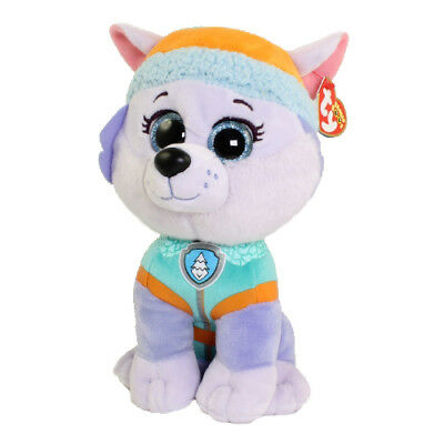 "TY Beanie Buddy 10"" Medium Paw Patrol EVEREST Husky Dog Plush MWMT's Heart Tags"