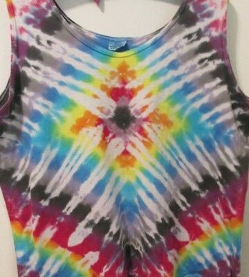 Vintage Woman's Hand Tie-dyed tank top shirt- 100% Cotton- Size XL- Made in USA