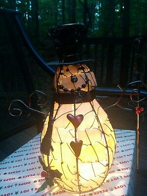 """Vintage Stained Glass Snowman Light 10.25"""" Tall With Original Box"""