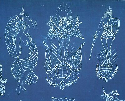 fine art giclèe print of 1920s Percy Waters blue print antique tattoo flash, O
