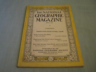 ANTIQUE NATIONAL GEOGRAPHIC July 1925 THE RHINE Floral Life in America BIRD LIFE