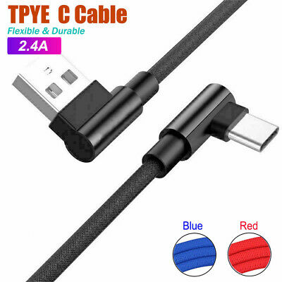 Braided 90° Degree Angle Type c USB C 3.1 Fast Data Snyc Charger Charging Cable