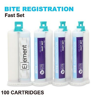 ELEMENT Bite Registration Material FAST Set 100x 50ML Cartridges Dental PVS