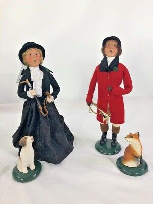 Byers Choice Carolers Fox Hunt Collection Woman And Man With Dog And Fox 2003