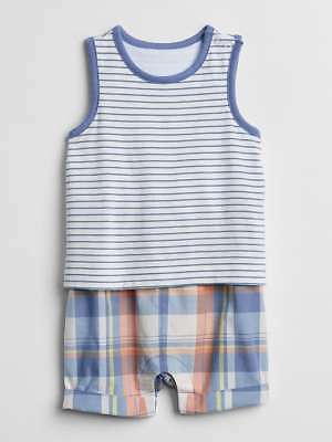 NWT Baby Gap Plaid Striped Shorty 2-in-1 Layered Romper 1PC Baby Boy