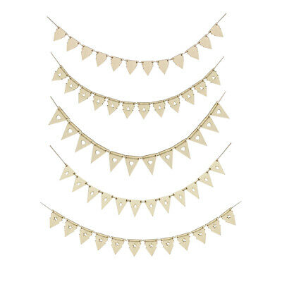 Wooden Flags Pennant Bunting Banner for Wedding Engagement Party Decorations
