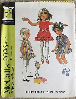 Vintage 1960's McCall's Child's A Line Dress W/ Ruffles Cut Sewing Pattern 2096
