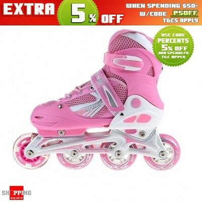 Adjustable Kids Roller Inline Skates Flashing Wheels M Size - Pink color