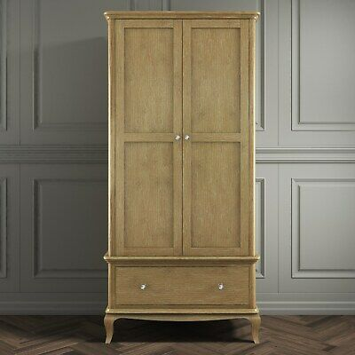 Oak Wardrobe Double 2 Door 1 Drawer French Style Washed Oak Crystal Handles