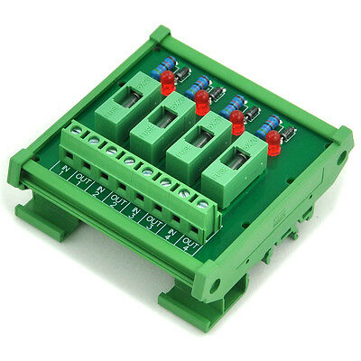 4 Channel Fuse Interface Module,for 100~250VAC,Din Rail Mount, w/ Fail Indicator