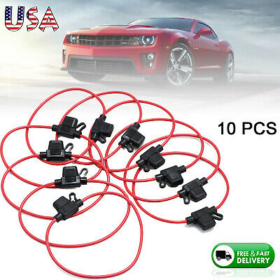 10Pcs 14Awg Atm / Mini Blade Inline Fuse Holder Rv Car Truck Boat Copper Wire Us