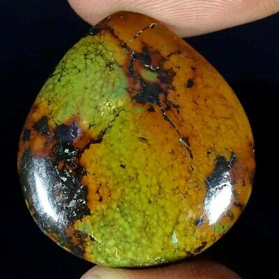 22.90Cts. BEST NATURAL TIBET TURQUOISE PEAR CABOCHON LOOSE GEMSTONE