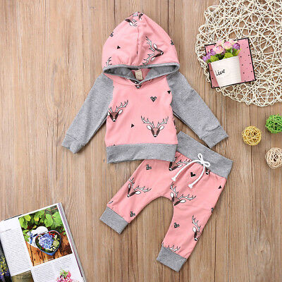 USA Newborn Toddler Baby Boys Girls Deer Hooded Tops Pants Outfit Set Clothes