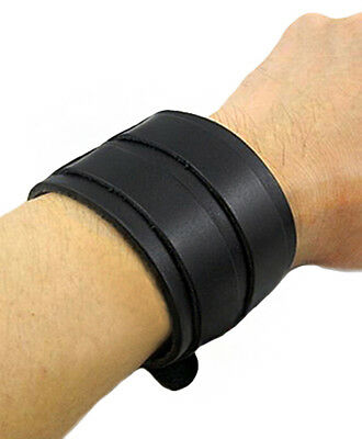 Bracelet black leather with webbing/ straps loops silver, gn medieval viking