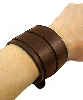 Bracelet leather dark brown with webbing/ straps loops silver,gn medieval viking