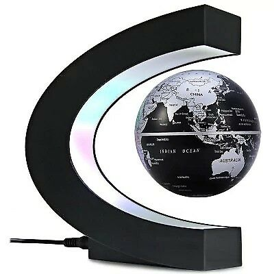 C Shape Magnetic Levitation Floating Globe World Map with LED Light Decoration