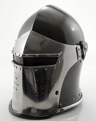 Medieval-Barbute-Helme-Armour-Roman-with-Inner-Liner-gladiator-wooden-stand-fre