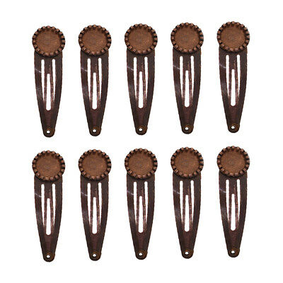 10pcs DIY Metal Snap Hair Clips Barrettes Blank Tray Cabochon Settings Brown