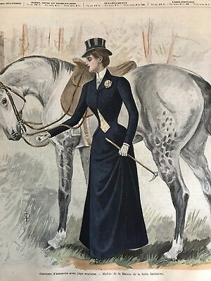 French MODE ILLUSTREE SEWING PATTERN Feb 13,1898 SIDE SADDLE COSTUME, CORSET