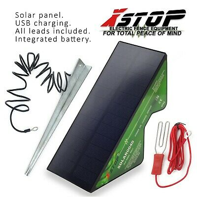 12v BATTERY SOLAR PANEL Powered Electric Fence Fencing Energiser Unit Earth 2km